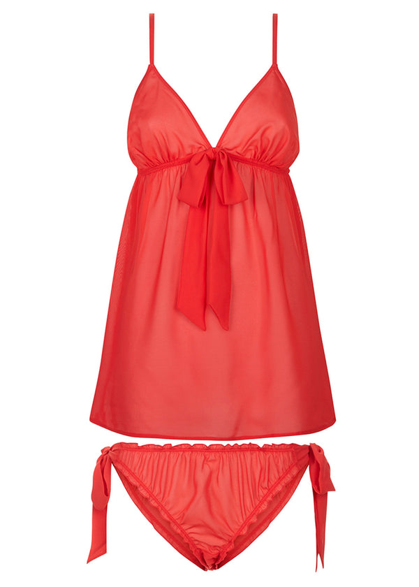 Phoebe Chemise and Tie-Side Knicker Set (Red)-Bodywear-Bluebella-AvecAmourLingerie