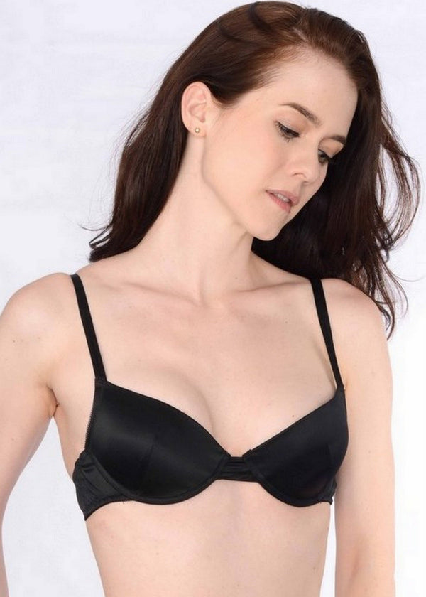 Pleated Underwire Bra (Black)-Bras-Natalie Begg-AvecAmourLingerie