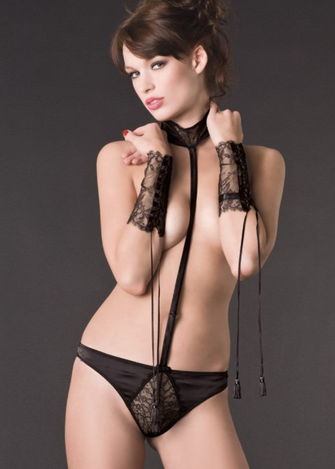Villa Satine Harness with Thong (Black)-Bottoms-Maison Close-AvecAmourLingerie