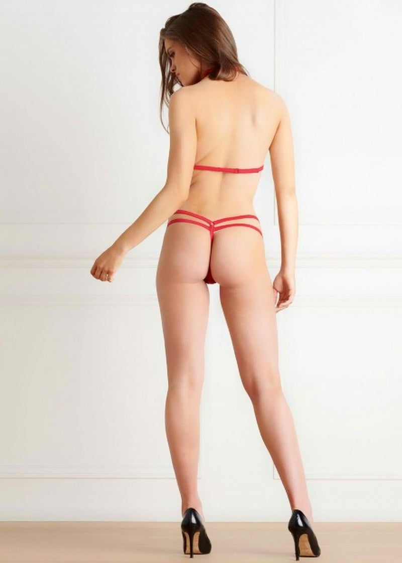 Maison Close Le Petit Secret (Red) Harness and Thong Set - Avec Amour Lingerie Boutique
