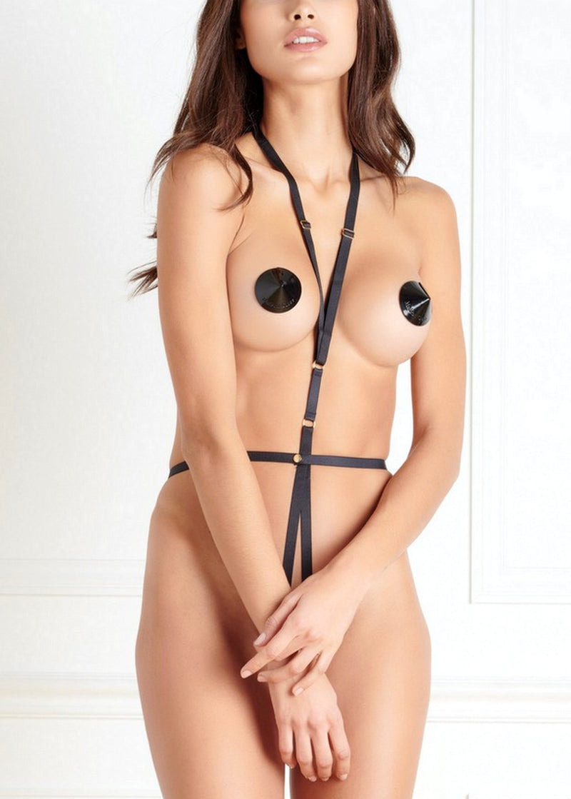Maison Close Jeux Magnetiques Body Harness with Nipple Pasties - Avec Amour Lingerie Boutique