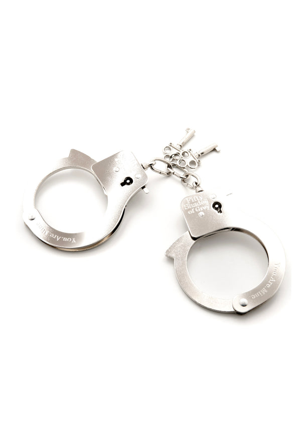 You Are Mine Metal Handcuffs-Accessories-Fifty Shades of Grey-AvecAmourLingerie