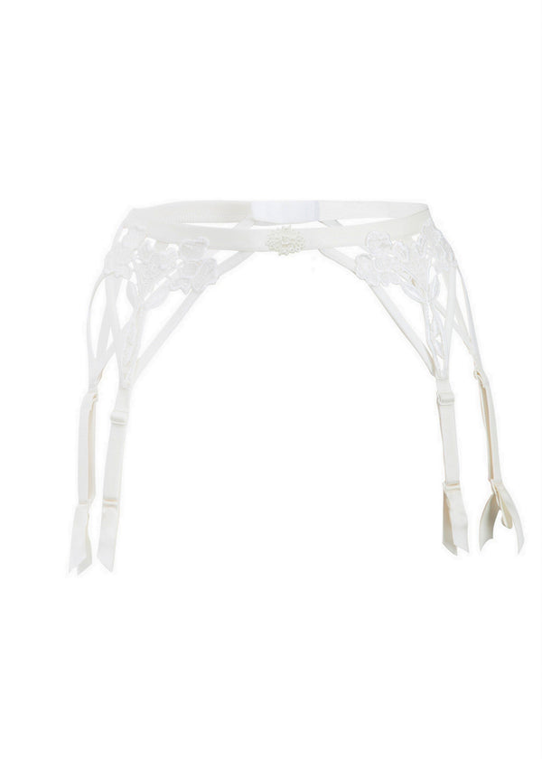 Nova Suspender Belt (Ivory)-Bottoms-Bluebella-AvecAmourLingerie