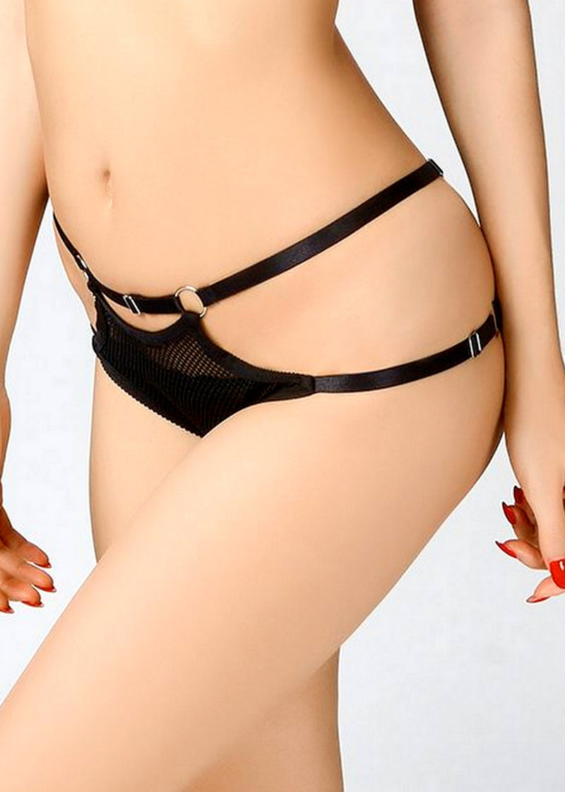 Jet Black Strap Brief-Bottoms-ELF Zhou-AvecAmourLingerie