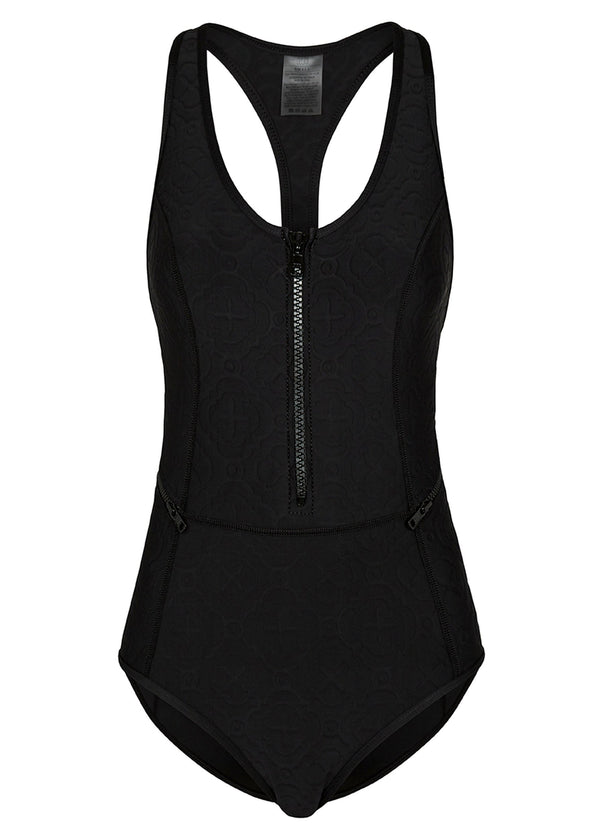 Oasis T Back One Piece Swimwear (Black Embossed)-Swimwear-Duskii-AvecAmourLingerie