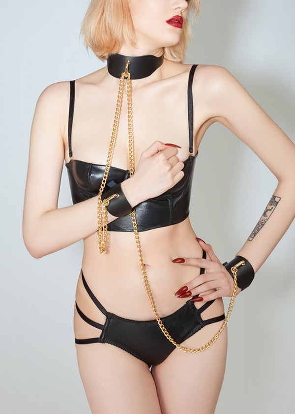 ELF Zhou London Leather Chain Collar with Handcuffs | Bondage BDSM