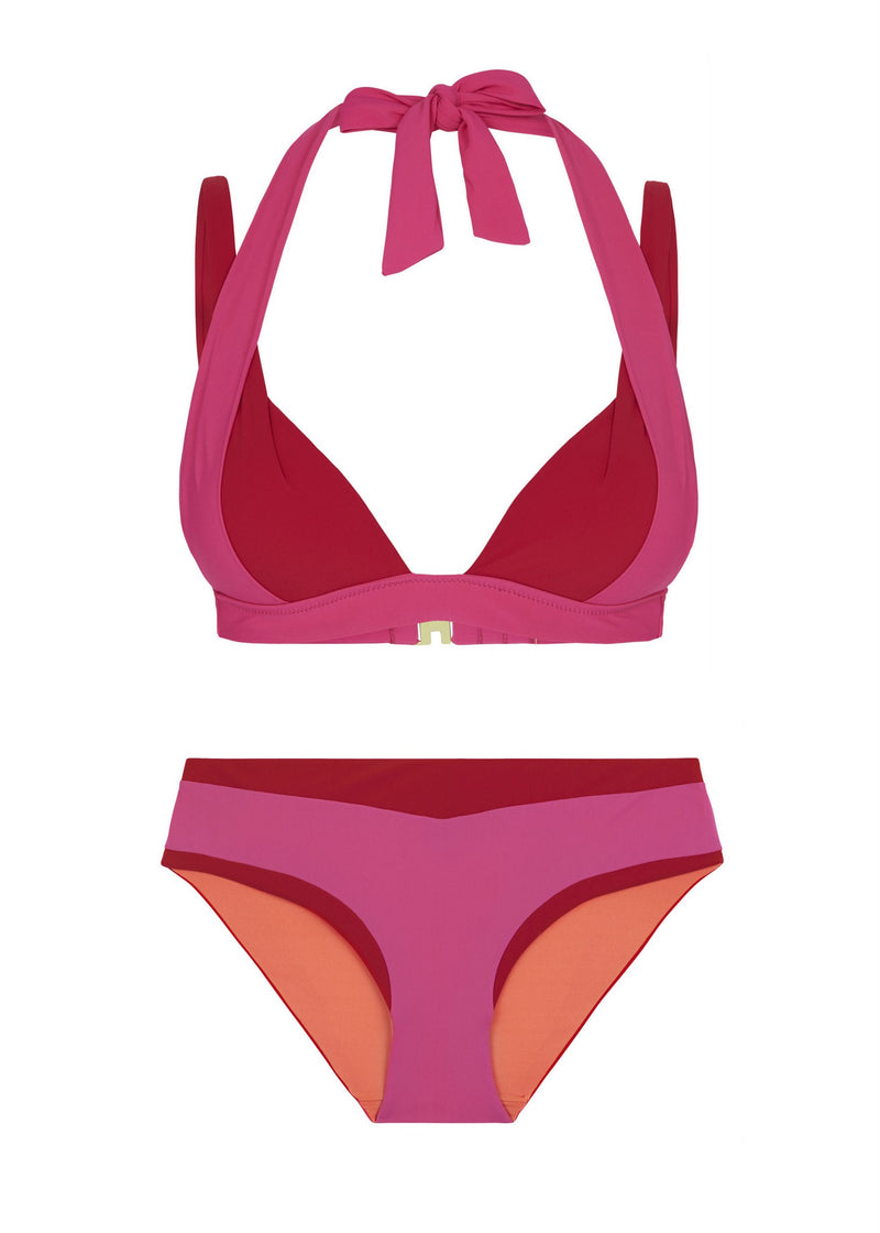 Savannah Sunset Padded Halter Bikini Swimwear (Fushia)-Swimwear-Heidi Klum Swim-AvecAmourLingerie