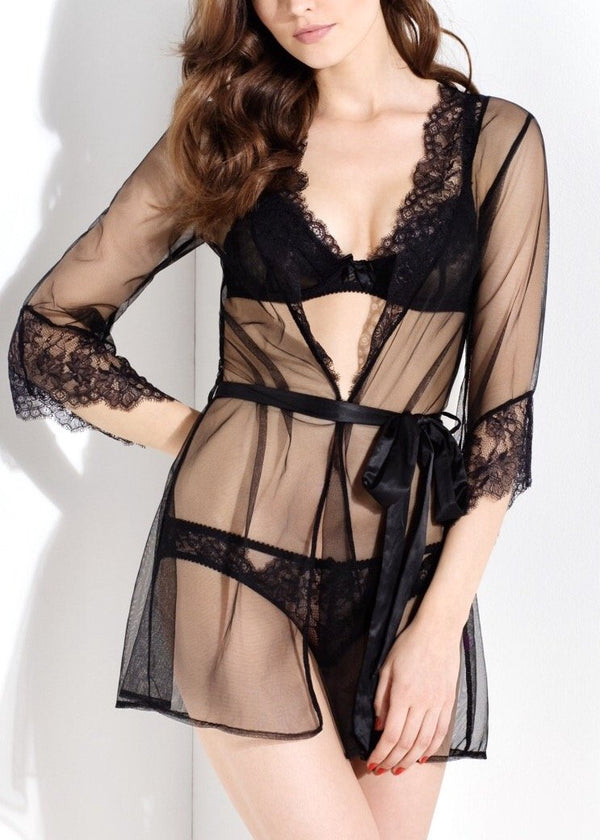 Idalia (Black) Short Gown-Bodywear-L'Agent by Agent Provocateur-AvecAmourLingerie