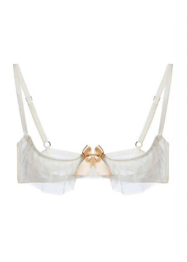 Kitty Cupless Bra (White)-Bras-Lascivious-AvecAmourLingerie