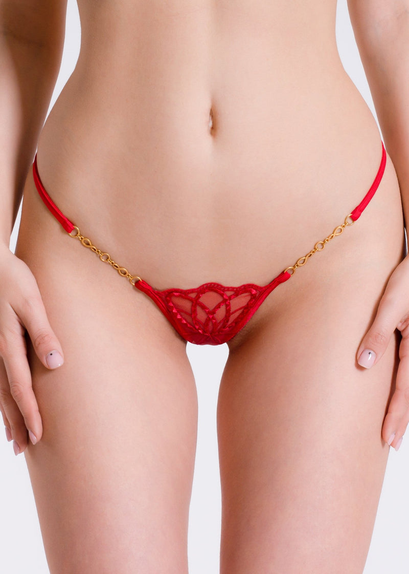 Little Red Luxury G-String-Bottoms-Lucky Cheeks-AvecAmourLingerie