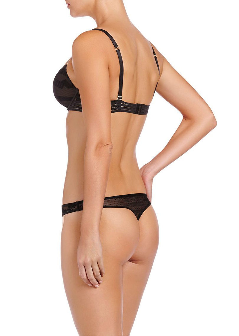 Fleur Dancing (Black) Thong-Bottoms-Stella McCartney Lingerie-AvecAmourLingerie