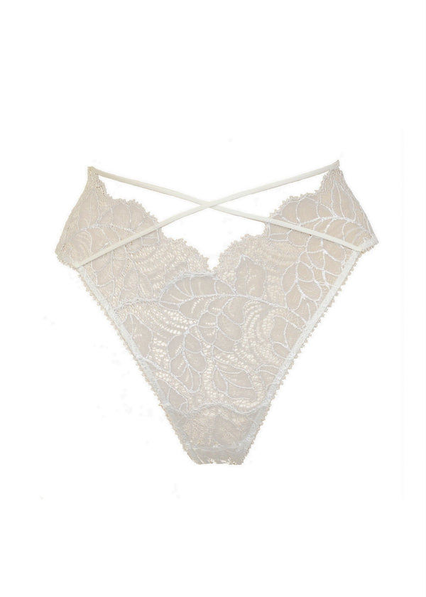 Tisja Damen Angel or Siren (Ivory) High Ouvert Brief - Avec Amour Lingerie Boutique
