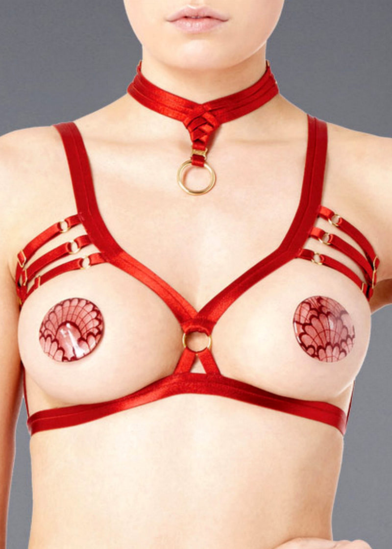 Bondage-Belle (Burnt Red) Frame Bra-Bras-Bordelle-AvecAmourLingerie