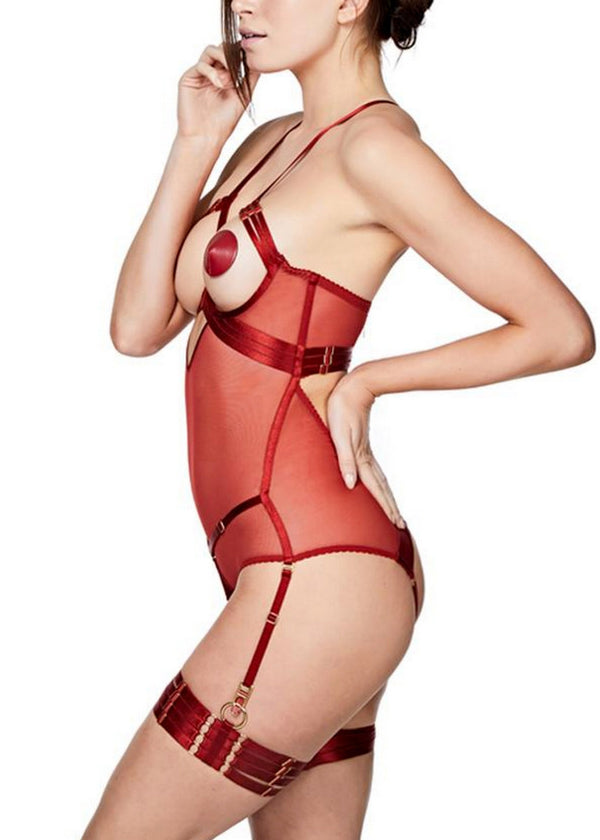 Art Deco (Burnt Red) Ouvert Body-Bodywear-Bordelle-AvecAmourLingerie