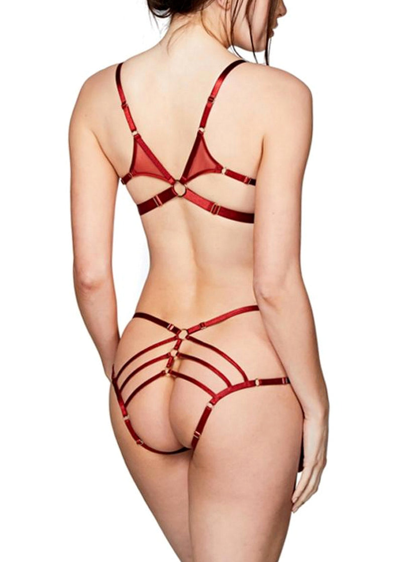 Art Deco (Burnt Red) Ouvert Strap Brief-Bottoms-Bordelle-AvecAmourLingerie