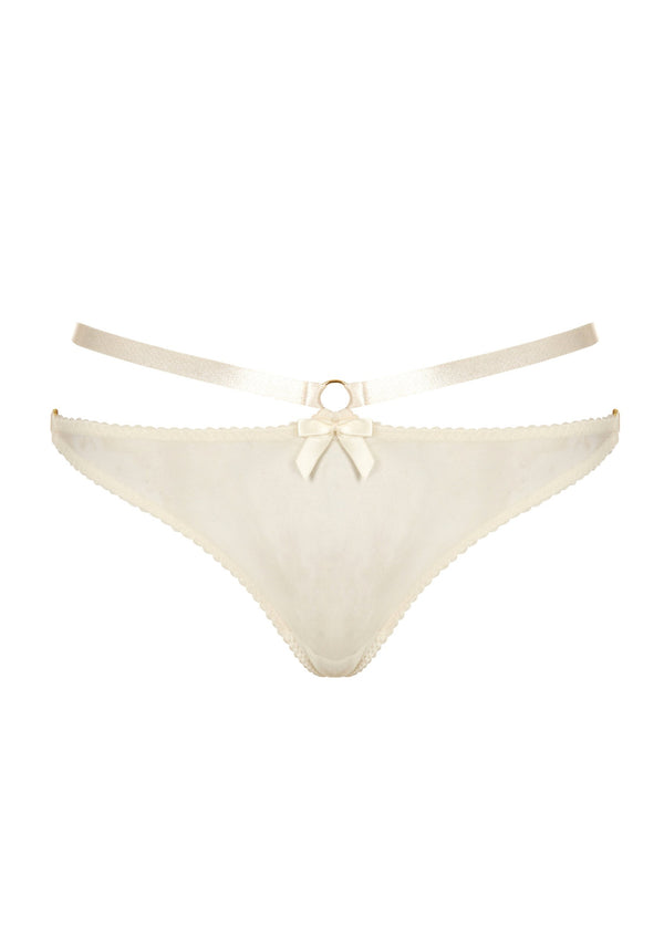 Signature Harness Thong (Cream)-Bottoms-Bordelle-AvecAmourLingerie