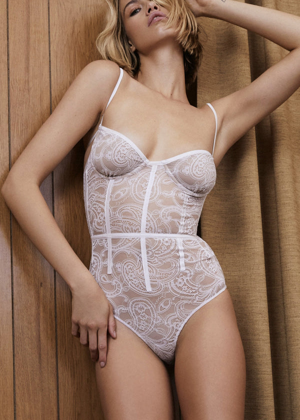 Belle (White) Corset Bodysuit-Bodywear-For Love & Lemons-AvecAmourLingerie