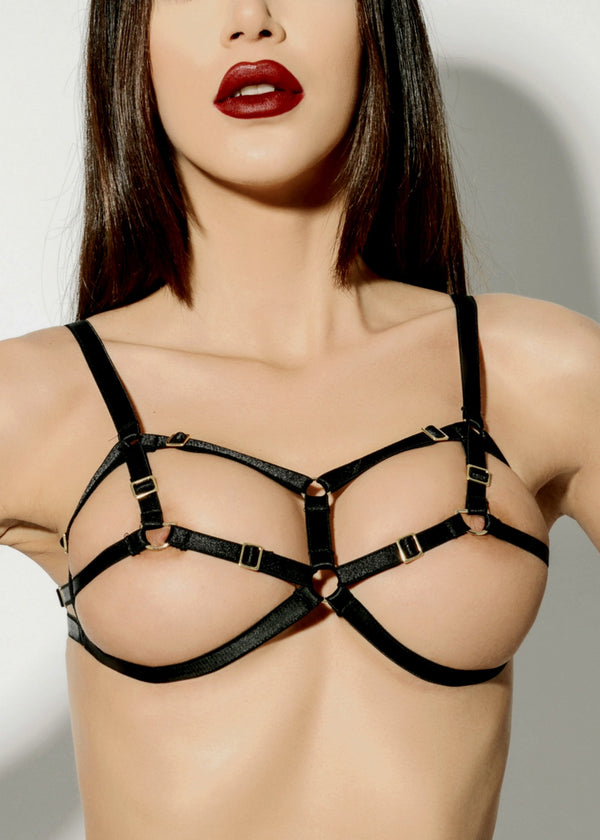 D-Ring Bondage Bra (Black)-Bras-ELF Zhou-AvecAmourLingerie