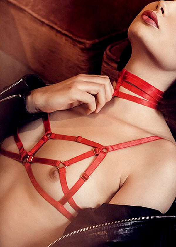D-Ring Bondage Bra (Red)-Bras-ELF Zhou-AvecAmourLingerie