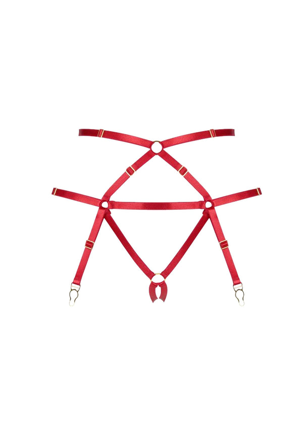 Bondage Harness Suspender (Red)-Bottoms-ELF Zhou-AvecAmourLingerie