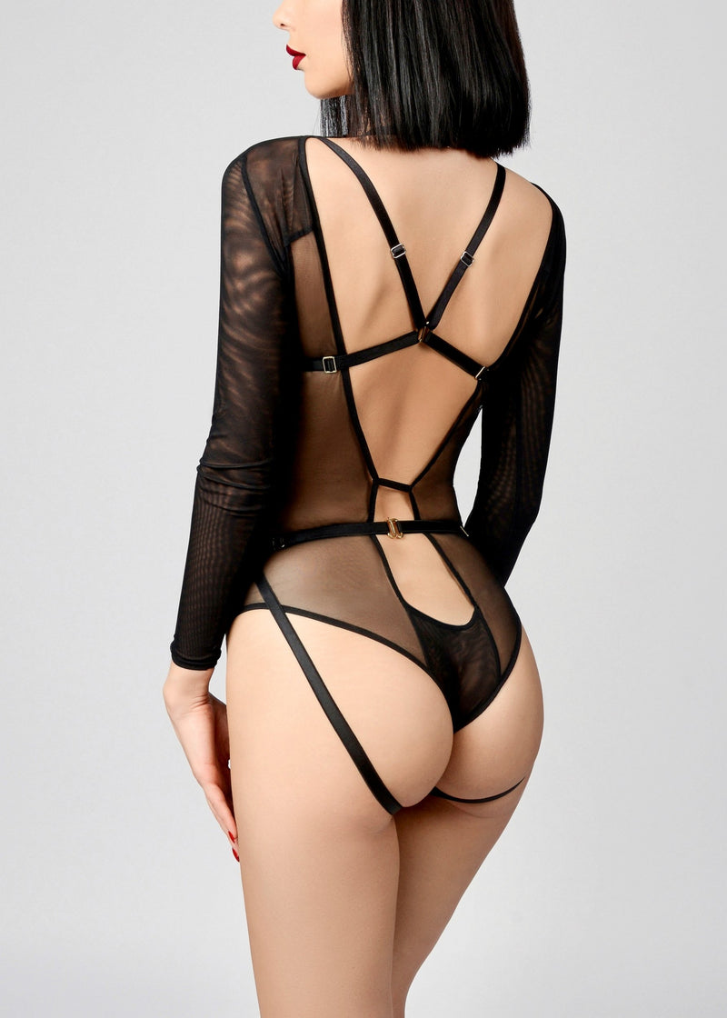 Bondage Playsuit (Black)-Bodywear-ELF Zhou-AvecAmourLingerie