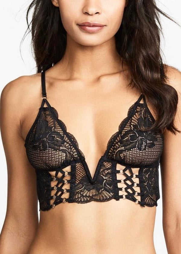 Bowery (Black) Lace Up Bralette-Bras-Thistle & Spire-AvecAmourLingerie