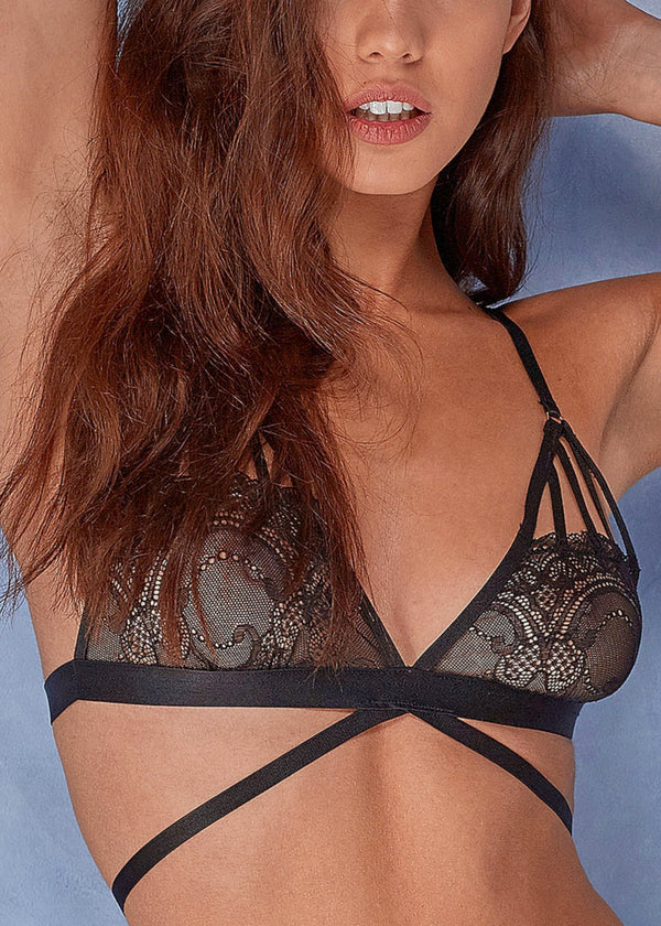 Frankie (Black) Lace Strappy Soft Cup Bra-Bras-Wolf & Whistle-AvecAmourLingerie
