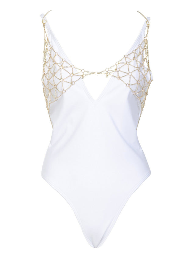 Goldie White Swimsuit with Removable Chain-Swimwear-Wolf & Whistle-AvecAmourLingerie