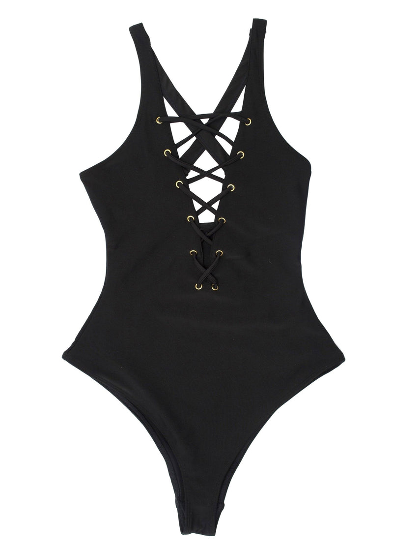 Blake Black Lace Up Front Swimsuit-Swimwear-Wolf & Whistle-AvecAmourLingerie