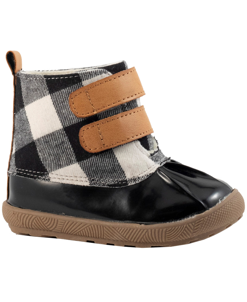 Baby Deer unisex duck boots- black/white buffalo plaid on dark brown sole. Brown velcro straps on front.