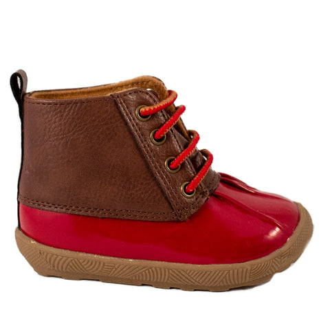 Baby Deer unisex duck boots- brown/red on brown sole. Red decorative laces.