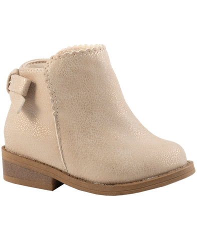Baby Deer girls ankle boot- solid champagne shimmer on brown sole. Girl Boot.