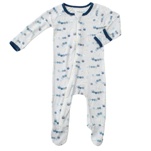 Bestaroo zipper footie. Light blue footie with blue caterpillar pattern and dark blue lining. Sleep and lounge and playwear.