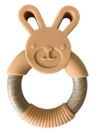 Bunny Silicone + Wood Teether - Apricot Colored.