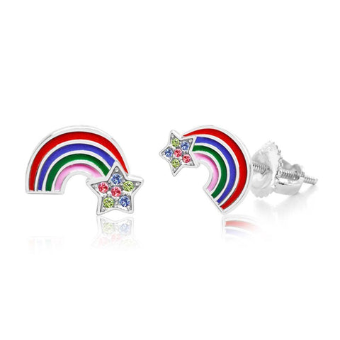 Chanteur - Crystal Enamel Rainbow And Star Screwback Earrings