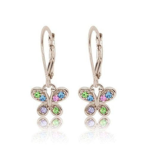 Chanteur - Crystal Multi Color Butterfly Leverback Earrings