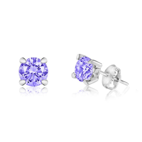 Chanteur - CZ February Birthstone Amethyst Screwback Earrings