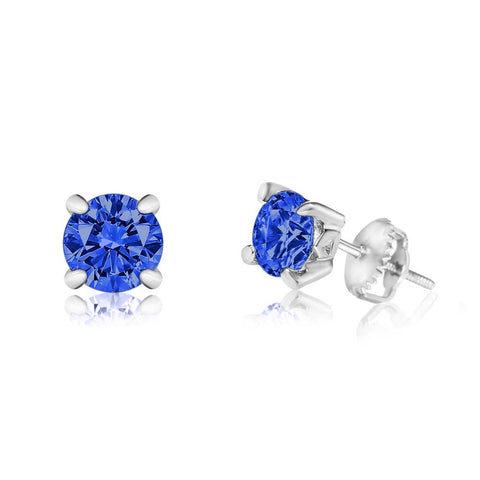 Chanteur - CZ September Birthstone Sapphire Screwback Earrings