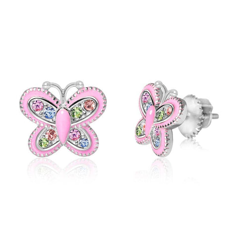 Chanteur - Enamel and Crystal Butterfly Screwback Earring
