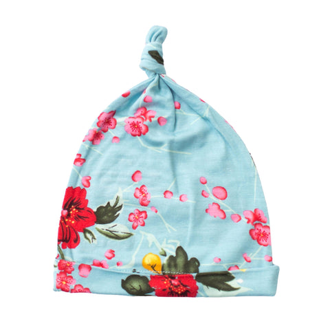 Bestaroo girls knotted hat. Blue hat with cherry blossom pattern.
