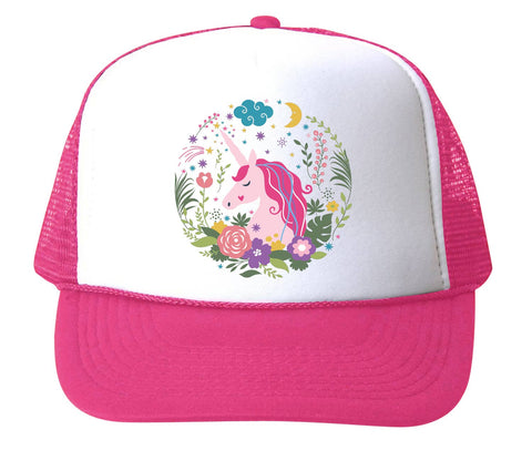 Bubu Unicorn Flowers Trucker Hat- Hot Pink/White. Hot pink hat with white front. Front has unicorn and a floral embroidered on it.