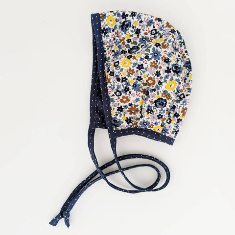 huggalugs cotton navy floral bonnet