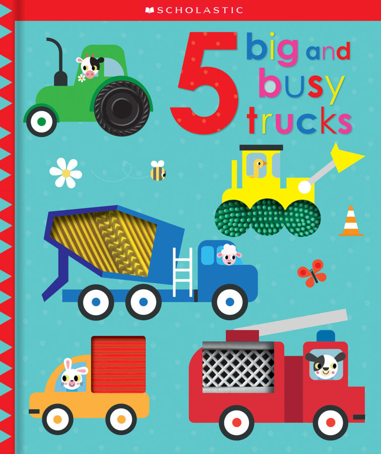 Board Book Five Big and Busy Trucks Touch and Feel Truck Scholastic Interactive Book Scott Barker