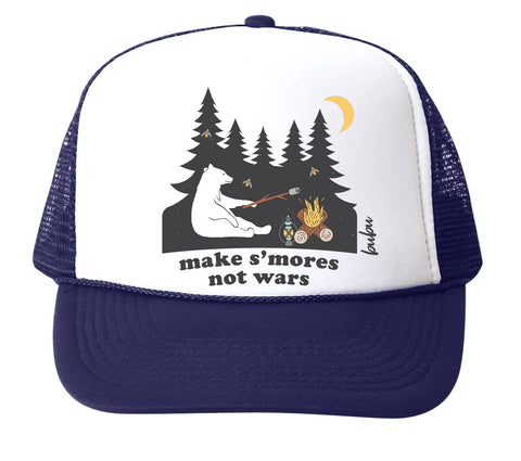 "Bubu S'mores Not Wars Trucker Hat- Navy/White. Navy Blue hat with white front. Bear making smores with trees in the background embroidered on the front with slogan ""make s'mores not wars""."