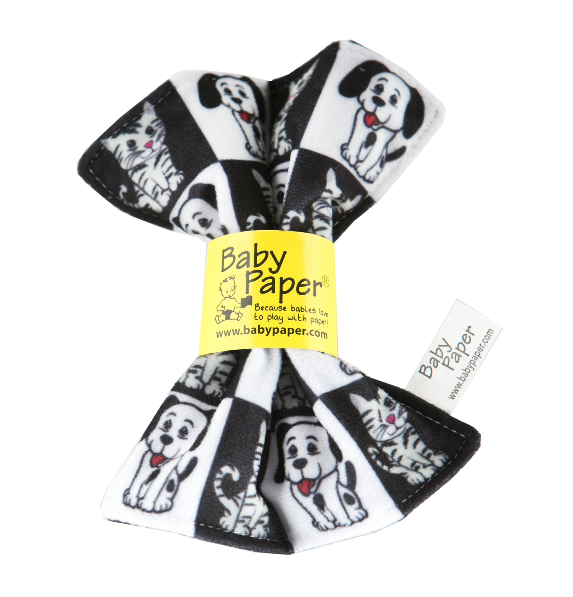 Baby Paper. Teething, crunchy paper for babies. Black and white pets pattern.