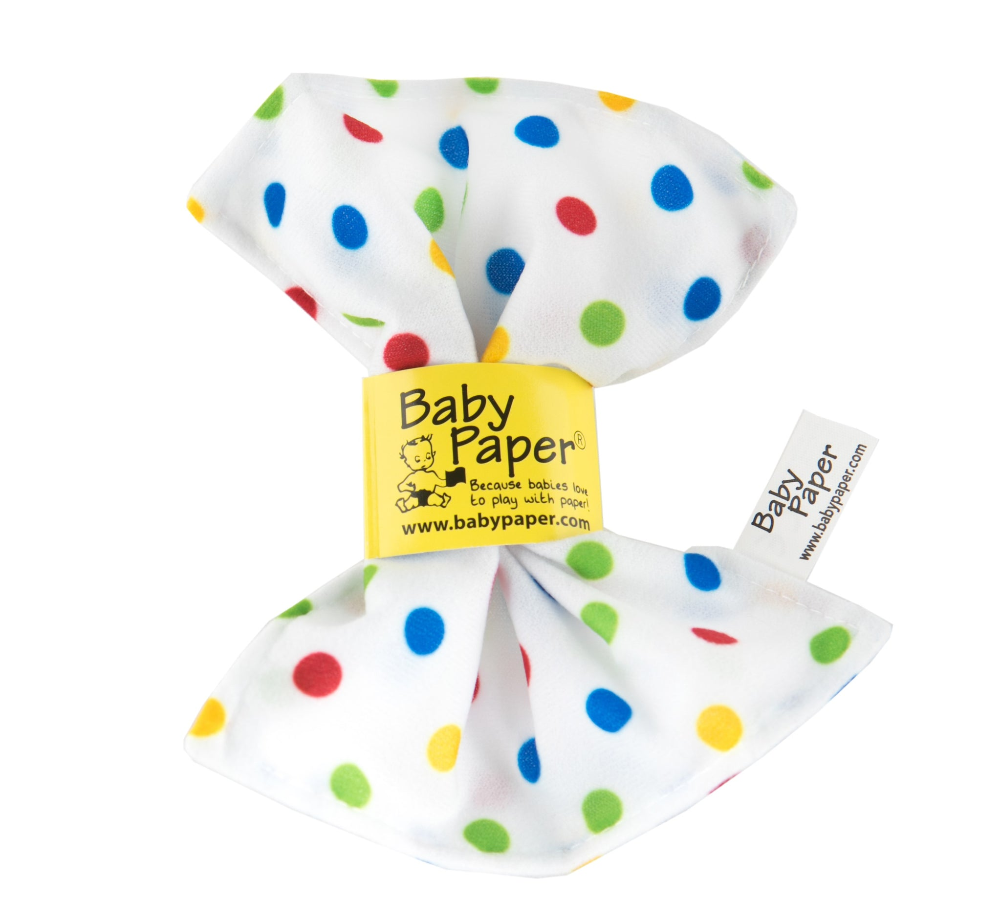 Baby Paper. Teething, crunchy paper for babies. White paper with colorful polka dots.