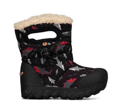 Bogs B-Moc Toddler Winter Boot- black sharks. Rain/Snow insulated and light weight boots for toddlers. Black with red/grey/black shark pattern.