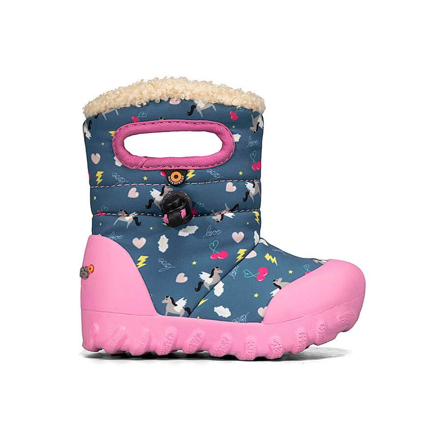 Bogs B-Moc Toddler Winter Boot- blue pegasus. Rain/Snow insulated and light weight boots for toddlers. Blue with unicorn pattern. Pink detail.