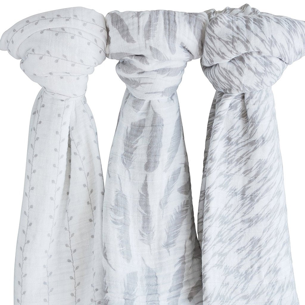cotton muslin swaddle blanket grey feather