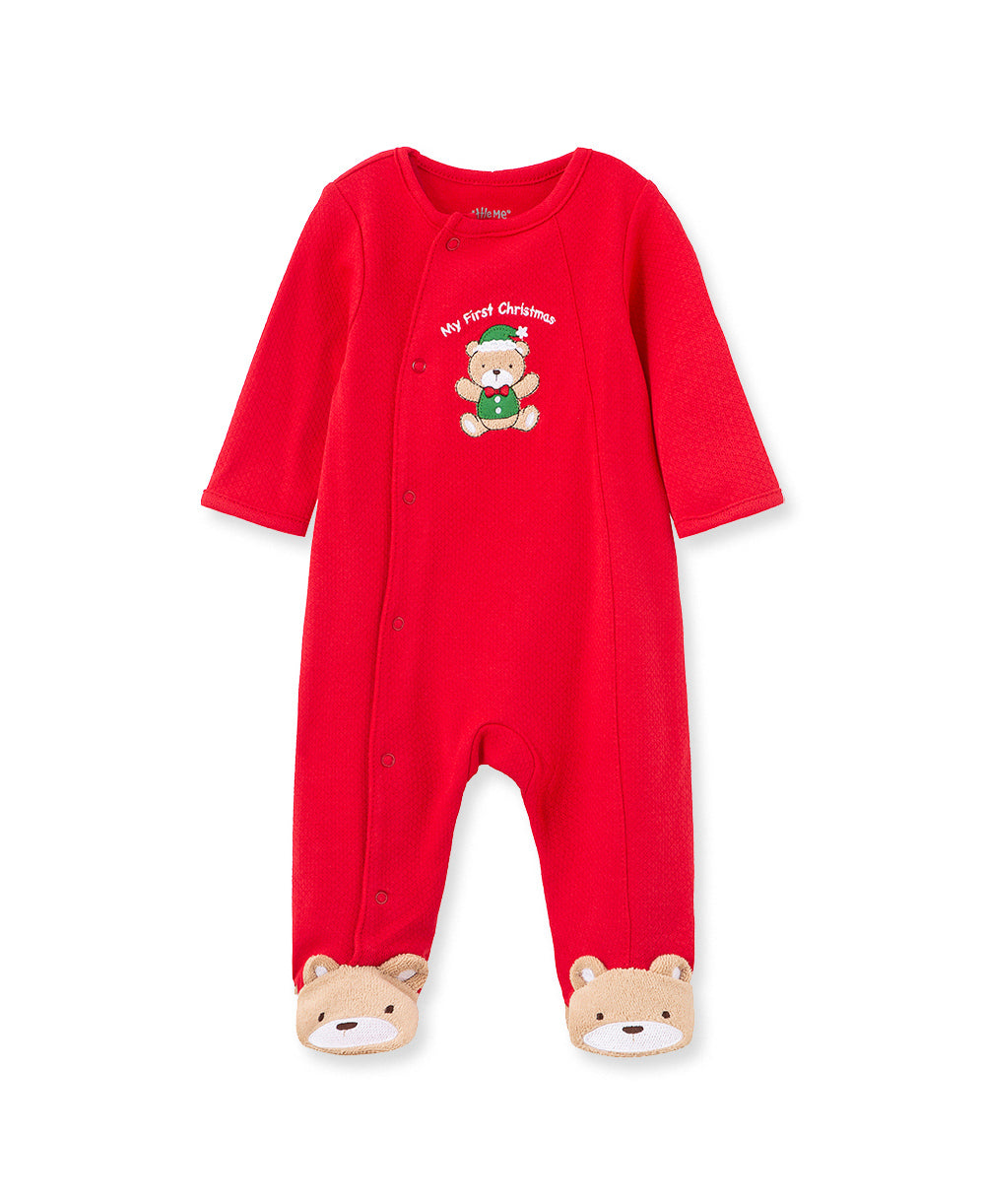 Little Me holiday bear footie